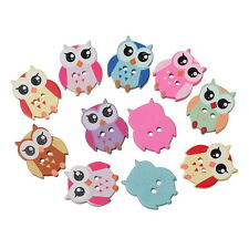 100PCs Wooden Buttons Cartoon Owl 2 Holes Fit Sewing DIY Scrapbook