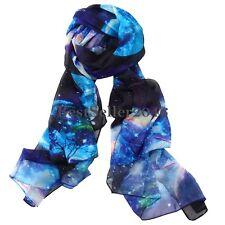 Charming Fancy Stars Sky Print Womens Soft Silk Scarf Shawl Wrap Long Scarves