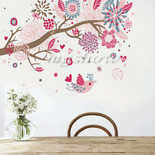 Removable Pink Flower Tree Branch & Bird Wall Sticker Decal Girls Room Mural DIY