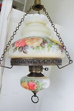 Antique Vtg Victorian Hanging Hurricane Gone With The Wind Lamp Chandelier Works