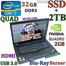 (3D Design FHD) Thinkpad W520 i7-Quad (BD-RE SSD+2TB 32GB) 15.6 nVIDIA-2GB USB-3