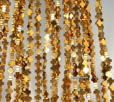 4X4MM GOLD HEMATITE GEMSTONE CROSS 4X4MM LOOSE BEADS 15.5""