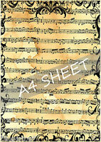 RETRO MUSIC SHEET - EDIBLE Rice Paper / Icing Decorations Cake Toppers A4 Sheet