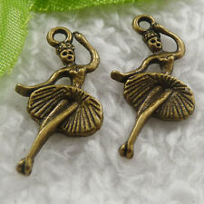 Free Ship 260 pieces bronze plated dancer charms 25x14mm #1784