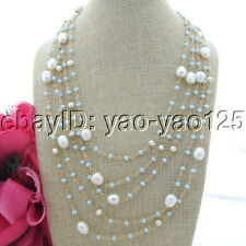"""S092311 19"""" 5 Strands 9x12mm White Rice Pearl Blue Crystal Necklace"""