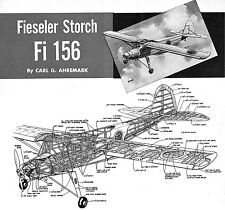 """Model Airplane Plans (FF): Fieseler Fi-156 Storch 1/12 Scale 45½""""ws for 1/2A"""