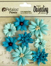 Mini Mix TEAL 8 Teastained Paper Flowers 20-35mm across Darjeeling Petaloo Ver