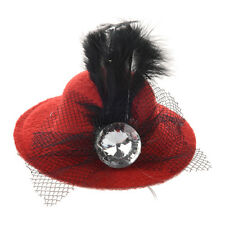 Women Rhinestone Feather Red Mini Top Hat Fascinator Hair Clip AD