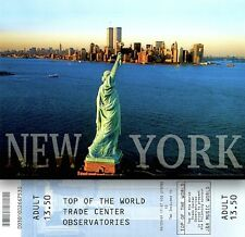World Trade Center Pre 9/11 Observatory Ticket Adult + WTC Liberty Postcard MT