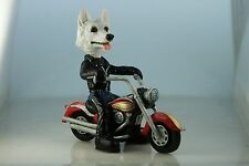 GERMAN SHEPHERD WHITE  ON A MOTORCYCLE (SEE ALL BREEDS  &  BODIES @ EBAY STORE
