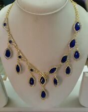 DESIGNER BOLLYWOOD FASHION GOLD PLATED ROLL CHAIN BLUE NECKLACE EARRINGS SET