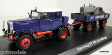 Schuco 1/43 Scale 02894 Hanomag ST 100 with trailer & Tractor load diecast model