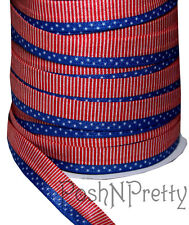 Designer 3 Yards 5/8 Print Fold Over Elastic Stretch FOE - USA flag Stars Stripe