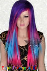 NEW Fashion Long Multi Colour Cosplay Straight Wig + Wig cap A61