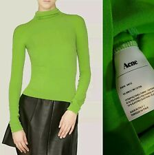 ACNE Studios Faith AW12 Stabilo Green Long Sleeve Roll Neck Top Size S 8 10 12