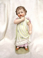 Antique German Heubach-Type Porcelain Figurine Of A Small Pensive Girl - 12""