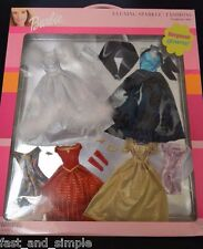 "Barbie ""Evening Sparkle Fashions"" Set w/ 6 Gowns / Dresses"