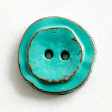 ONE TURQUOISE METAL BUTTON WITH TWO SMALL HOLES, 12 MM