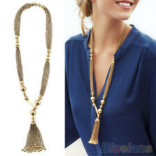 Women Vintage Y-Shape Golden Color Bead Twisted Tassel Metal Long Chain Necklace