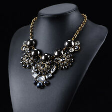 NEW 2015 BEAUTIFUL ZARA DESIGN BLACK & CLEAR  & BLACK CLUSTER STONES NECKLACE