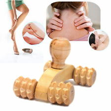 Portable Hand-held Wooden Body Massage Rolling Roller Relax Massager w/ 4 Wheels