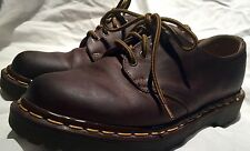 Womens Brown Leather Dr Doc Martens BOSTON Yellow Stitching Sz 4 Lace Up Oxford