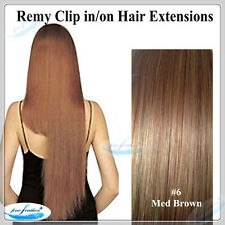 18'Clip in India Remy 100% Human Hair Extensions Best Quality #6 med brown