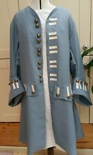Mens Frock coat Regency pirate fancy dress theatrical costume blue grey