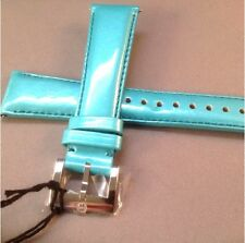 20 mm Michele Watch Wrist Band,Straps Genuine Leather Turquoise / Aqua Color
