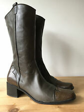 MADE IN ITALY LADIES BROWN SUPER SOFT LEATHER KNEE HIGH BOOTS UK8