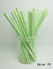 25 PCS Chevron Striped Paper Drinking Straws For Wedding Birthday Party Color 19