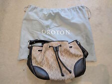 OROTON JACUQARD GATHER HOBO Signature Print Shoulder Hand Bag in Brown RRP $345