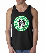 New Way 171 - Men's Tank-Top Guns And Coffee Starbucks Parody