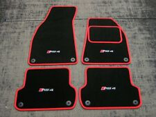 Car Mats in Black w/ Red Trim to fit Audi RS4 B7 (2006-2008) + RS4 Logos (x4)
