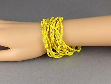 12 Yellow Gold bracelet seed bead stretch set pack beaded stack stacking