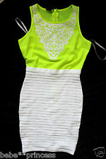 NWT 2b bebe top white green stirpe neon bodycon sweater dress party M medium