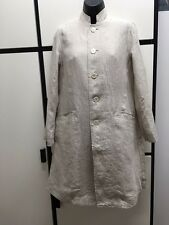 Veritecoeur FREE SIZE NATURAL Linen Vertical Striped Stand Collar LONG JACKET