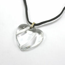 Authentic Signed Baccarat Coeur Clear Crystal Heart Black Cord Necklace Pendant