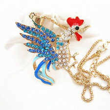 Gold Plated Blue Crystal Cock Rooster Charm Pendant Chain Sweater Necklace