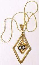 pendentif chaine bijou vintage couleur or cristaux émail noir guilloché * 4731