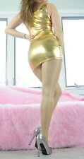 GOLD Vinyl Shiny High Gloss Wetlook Stretchy Bodycon Club Mini Dress sz S-L
