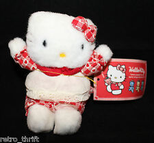 "VTG Sanrio Japan Hello Kitty Plush 11cm 4.25"" Tall Apron Heart Red Original Tag"
