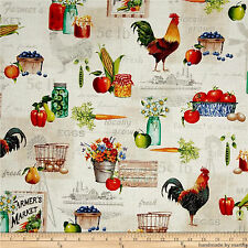 Fabric  Multi Farm Toile 26438-MUL1 Red Rooster Day the Farm Sandy Clough