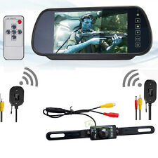 "7"" LCD Mirror Monitor & Wireless Car Rear View Backup Camera Night Vision"
