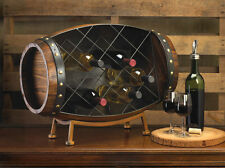 CASK WINE BOTTLE BARREL TABLETOP RACK STAND BAR KITCHEN DECOR~10015494