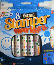 8 Stamper Markers (different colours) Stamp on each pen (Star, Smiley, Heart)