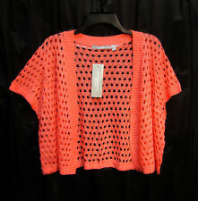 CORAL OPEN FRONT/WEAVE KNIT CROCHET CROP CARDIGAN JACKET SWEATER SHRUG TOP~2X~NW