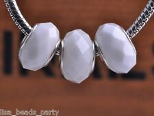 10pcs 15x9mm Lampwork Glass Faceted European Charm Loose Beads Porcelain White