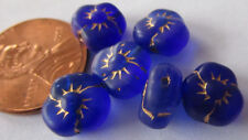 40 Vintage Czech Glass 9mm Cobalt Blue Gold-Etched 3-Petal Flower Beads
