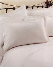 IZZY WHITE DOUBLE BED DUVET COVER SET BRODERIE ANGLAISE LACE SATIN STRIPE LUXURY